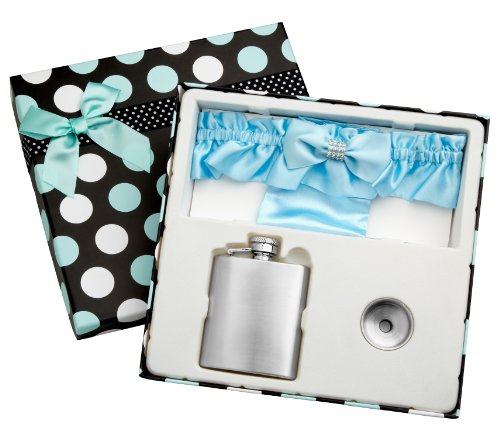 3 Piece Flask Set - Blue Garter Belt, 3 oz Flask and Funnel - Front Engravable for Personalized Gift - Stainless Steel, Screw-On Cap, Leakproof - Gift Box Included