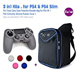 4in1 Bundles for PS4 VR Carrying Bag + 1pc Silicone Case Cover + 2pcs of Silicne Thumb Stick Cover ( All for PS4 DualShock Controllers )