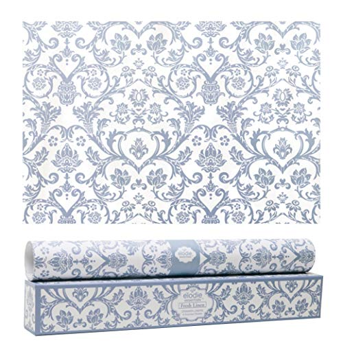 Elodie Essentials Scented Drawer and Shelf Liners - Royal Damask Print - Six (6) Large 14 x 19½ Inch Sheets - Non-Adhesive Paper Sheets for Closet Shelves and Dresser Drawers (Fresh Linen)