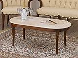 SIMONE GUARRACINO LUXURY DESIGN Mesa de Centro Katrin Estilo Barroco Italiano Color Nogal mármol Crema