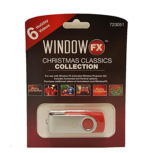 WindowFX Holiday Projector Christmas Classics Expansion USB 6 Video Collection Family Friendly Traditional Images to Enhance Your Holiday Collection.