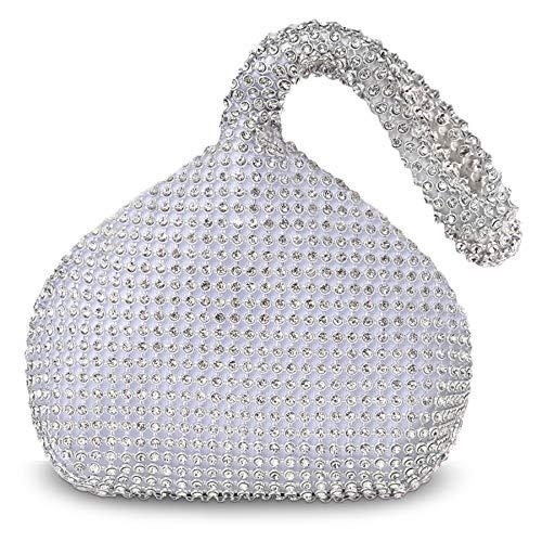 Coucoland Strass Handtasche Damen 1920s Handtasche Abend Party Clutch Elegante Abschlussball Handtaschen Hochzeit Braut Zubehör (Silber)