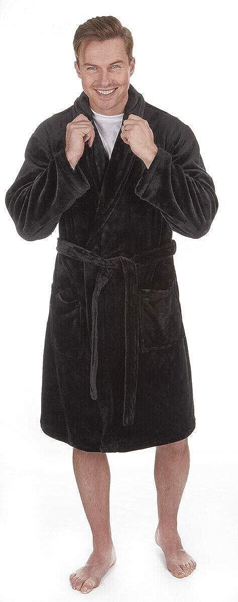Pierre Roche Mens Plain Supersoft Fleece Dressing Gown/Bath Robe ~ Medium to 5XL ~ Upto 64