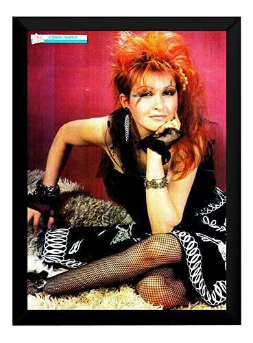 Lindo Quadro/Poster Com Moldura Cyndi Lauper Pop P7775