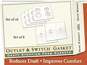 Gasket Covers Electrical Outlet and Light Switch Plate Draft Stopper Foam Gaskets For Insulation and Weatherization (16 Outlets, 8 Light switches)