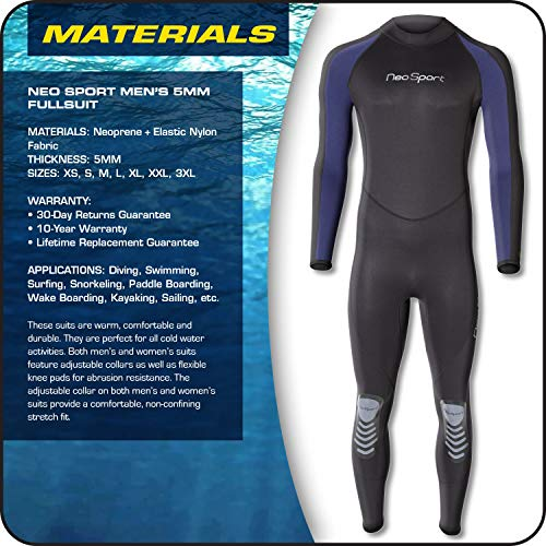 NeoSport Wetsuits Men's Premium Neoprene 5mm Full Suit, Blue Trim, XXX-Large - Diving, Snorkeling & Wakeboarding