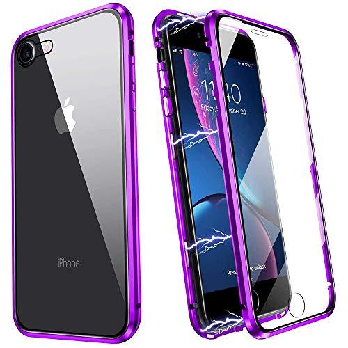 Cover iPhone SE 2020,Magnetica Custodia[Cornice Metallica][Doppio Vetro Temperato] Adsorbimento Magnetico 360 Gradi Full Body Trasparente Vetro Temperato,per...