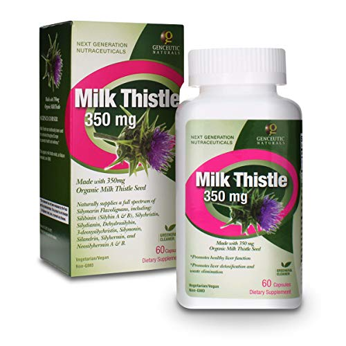 naturals thistles Genceutic Naturals - Milk Thistle Organic 350 mg 60 Capsules   Promotes Healthy Liver Function   Natural Detox   Cleanser   Digestive Support