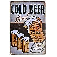 【USA アメリカン デザイン】COLD BEER 冷たいビールあります USA キッチン レストラン カフェ ガレージ サインボード ビンテージ バイカー インテリア 看板 ; AVSB-303
