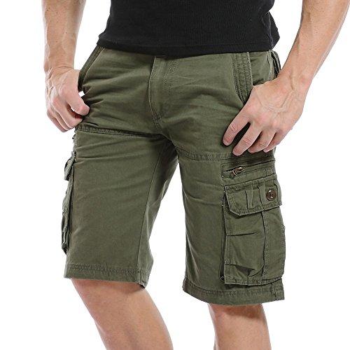 AYG Herren Cargo Shorts Bermudas Schwarz Shorts(army green,38)