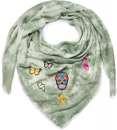 styleBREAKER 01016143 - Pañuelo cuadrado XXL para mujer, diseño vintage de bádminton, con parches, calavera, flamenco, estrellas, mariposas, lentejuelas, bufanda, pañuelo