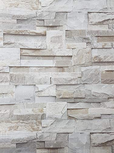 3D Slate Stone Brick Effect Wallpaper Grey Beige Realistic Textured Vintage