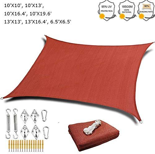 Beirich Toldo rectangular con kit de herramientas para exterior 185 GSM, toldo cuadrado 98% UV bloqueo, toldo rojo parasol rectangular para patios, agua y aire permeable, 10'X13'(3X4m)