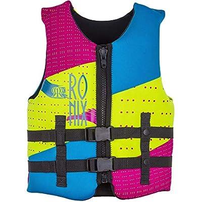 Ronix August Girl's Front Zip CGA Vest Youth (Neon/Pink/Blue) Kid's Life Jacket