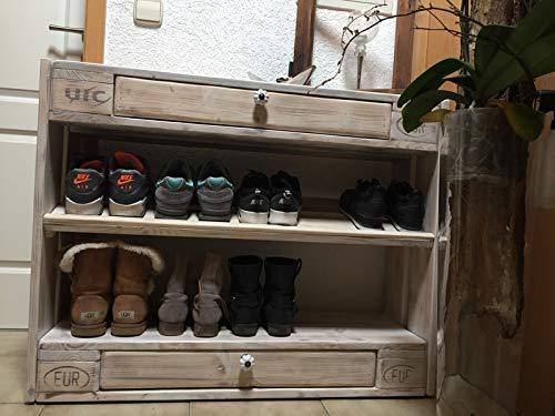 """Palettenmöbel Schuhschrank im Monument Oak Stil """"Latina"""" aus Paletten mit Schubladen"""