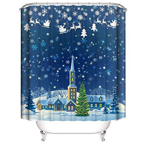 Hoomall Duschvorhang Weihnachten 180x180cm Anti-schimmel Badezimmer Deko wasserdichte Waschbar Shower Curtain mit 12 Ringe 3D Grün Pflanzen/Halloween (Blau)