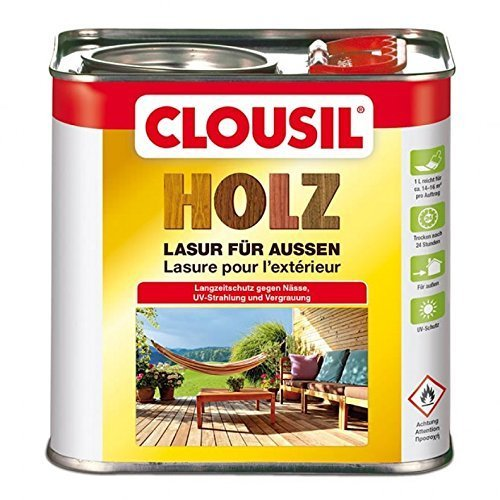 CLOUsil Holzlasur Holzschutzlasur für außen farblos Nr. 0, 2.5L: Wetterschutz, UV-Schutz, Nässeschutz und Schimmel für alle Holzarten - in verschiedenen Farben