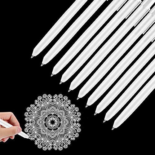 Bolígrafos de Gel Blanco 10 Piezas, 0,5mm Bolígrafo Punta Fina Gel Blanco, Bolígrafos para Artistas Papel Oscuro Ilustración de Dibujo Diseño de Arte,Colorear, Dibujar y Artesanal