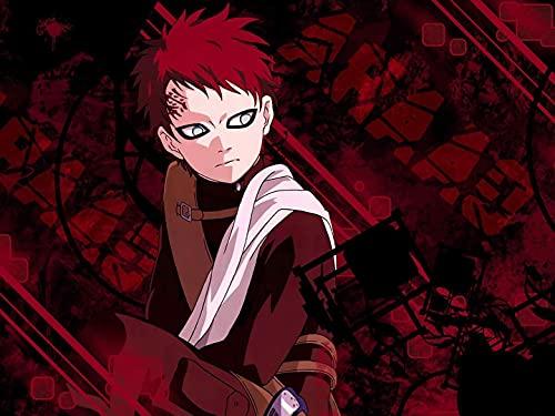 KaiWenLi Naruto Fondo Rojo de la Serie/Gaara/Kit de Pintura de Diamante Rellenos Digitales/Bricolaje Diamante 5D Pintura/Regalo para los Amantes del Anime/Juego de Ocio Relajante para Adulto