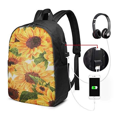 XCNGG Mochila para portátil Mochila para Colegio Universitario de 17 Pulgadas con Puerto de Carga USB Mochila Informal para Viajes (Flor de Acuarela Hoja de Girasol)