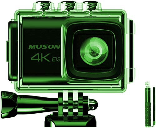 【進化版】MUSON(ムソン)アクションカメラ 4K高画質 手振れ補正 WiFi搭載 外部マイク対応 2000万画素 30M防...