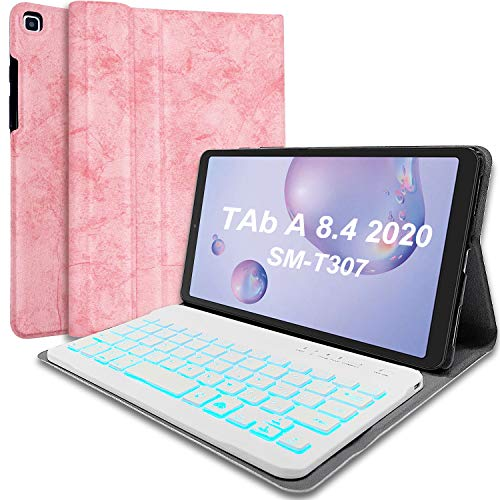 Wineecy Galaxy Tab A 8.4 2020 Keyboard Case [Backlit,SM-T307(Verizon/T-Mobile/Sprint/AT&T)], 7 Color Light Detachable Wireless Keyboard with PU Folio Stand Cover for Samsung Galaxy Tab A 8.4, Pink
