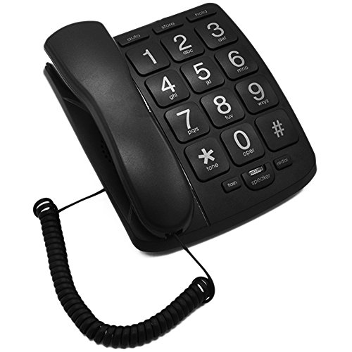 KerLiTar LK-P02B Amplified Big Button Landline Phones for Seniors Perfect for Low Vision and Hearing Impaired Aids with Loud Handsfree Speakerphone Telephone Landline Wall Phone(Black)