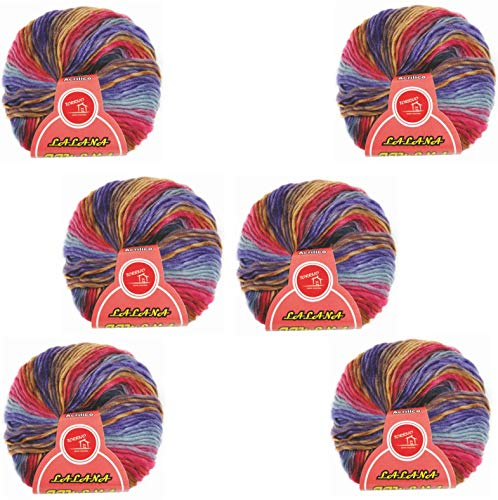 Hilo de Lana en mecha para Tejer Crochet Ganchillo o Punto jaspeada multicolor Torrijo JIMENA 60g, Ovillo de Lana Suave Acrílica para Tejer | Multicolor 2371-6