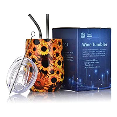 LUODA 12 Oz Stainless Steel Stemless Wine Glass Tumbler with Lid and Straw Vacuum Insulated Double Wall Travel Tumbler Cup for Coffee, Wine, Cocktails, Champagne Ice Cream(Beautiful Sunflowers)