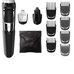 13 attachments for all of your grooming needs: Full size steel trimmer, a steel precision trimmer, a nose and ear hair trimmer, 3 hair trimming guards, 3 beard trimming guards, a stubble guard, an accessory travel storage bag, and a cleaning brush. U...
