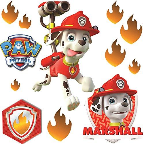 alles-meine.de GmbH 12 TLG. Set _ Fensterbilder -  Paw Patrol - Feuerwehr Hund Marshall  - selbstklebend + wiederverwendbar - Sticker Fenstersticker Aufkleber - Fensterbild / z..