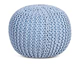 BirdRock Home Round Pouf Foot Stool Ottoman - Knit Bean Bag Floor Chair - Cotton Braided Cord - Great for The Living Room, Bedroom and Kids Room - Small Furniture (Soft Blue)