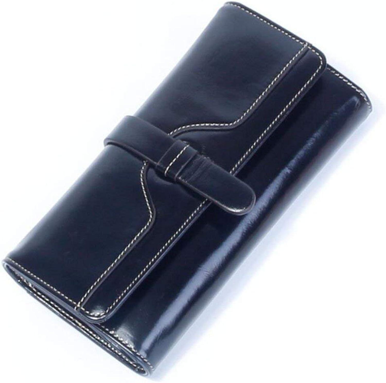 Soft Women's Wallet Female Long Section Leather Wallet New Female Section Leather Wallet Handbag (color   bluee)