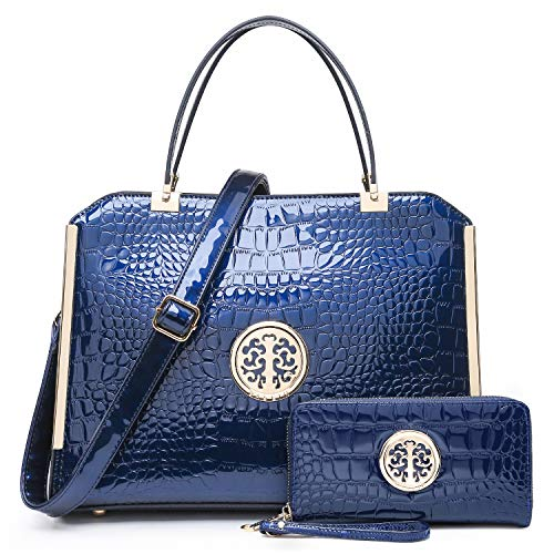 Dasein Women Large Handbag Purse Vegan Leather Satchel Work Bag Shoulder Tote with Matching Wallet (Navy Croco)