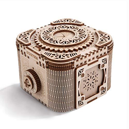 Cuteefun Holzmodelle Bausätze Erwachsene, Tresor Holzbausatz, Hölzerne Mechanische 3D Puzzle, Baukasten Holz, Geschenkideen für Jungen Mädchen Teenager Männer und Frauen