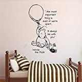 Winnie The Pooh Hot Air Ballow Quote Vinyl Wall Sticker for Kid Room Mural Baby Bedroom Decals Nursery Cute Bear Home Decor 57X96cm