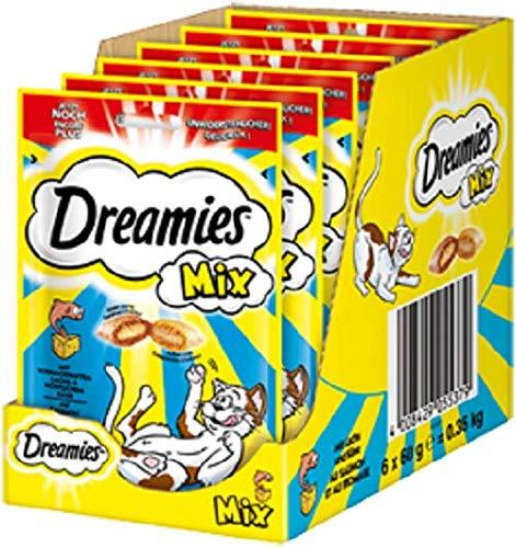 Dreamies Mix Kattensnacks – buiten knapperig & binnen crèmig – 6 x 60 g, zalm en kaas, 6 x 60g, zalm en kaas