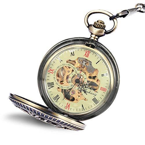 Nwarmsouth Relojes Bolsillo Números arábigos,Reloj de Bolsillo mecánico Digital, Reloj de Bolsillo Retro para Enfermera-1,Reloj Médico de Bolsillo