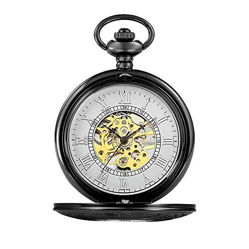 Lwieui Reloj de Bolsillo Reloj de Bolsillo clásico Liso for Hombre, Reloj de Bolsillo for Hombre con Cadena (Color : Black)