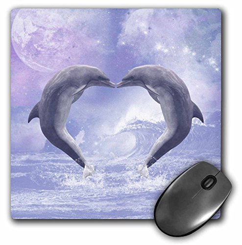 3dRose LLC 8 X 8 X 0.25 Inches Mouse Pad Two Kissing Dolphins forming a Heart in a Purple Ocean (Mp_172927_1)