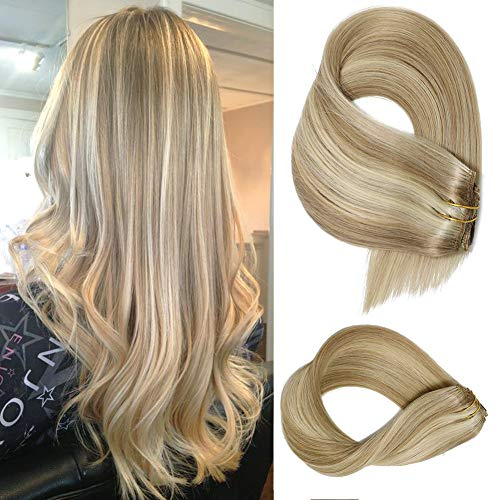 Human Hair Extensions Clip in Hair Dirty Ash Blonde to Blonde Highlights Real Hair Extensions Clip on, 7 Pieces 70 Gram...