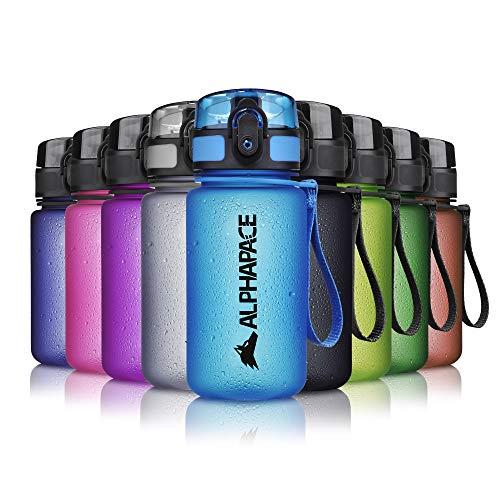 ALPHAPACE Trinkflasche, auslaufsichere 350 ml Wasserflasche, BPA-freie Flasche für Sport, Fahrrad & Outdooraktivitäten, Sportflasche mit Fruchteinsatz, in Blau