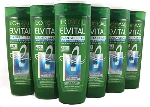 L'Oréal Paris Elvital Planta Clear 2in1 Anti-Schuppen Shampoo und Spülung, für normales Haar, 6er Pack (6 x 250 ml)
