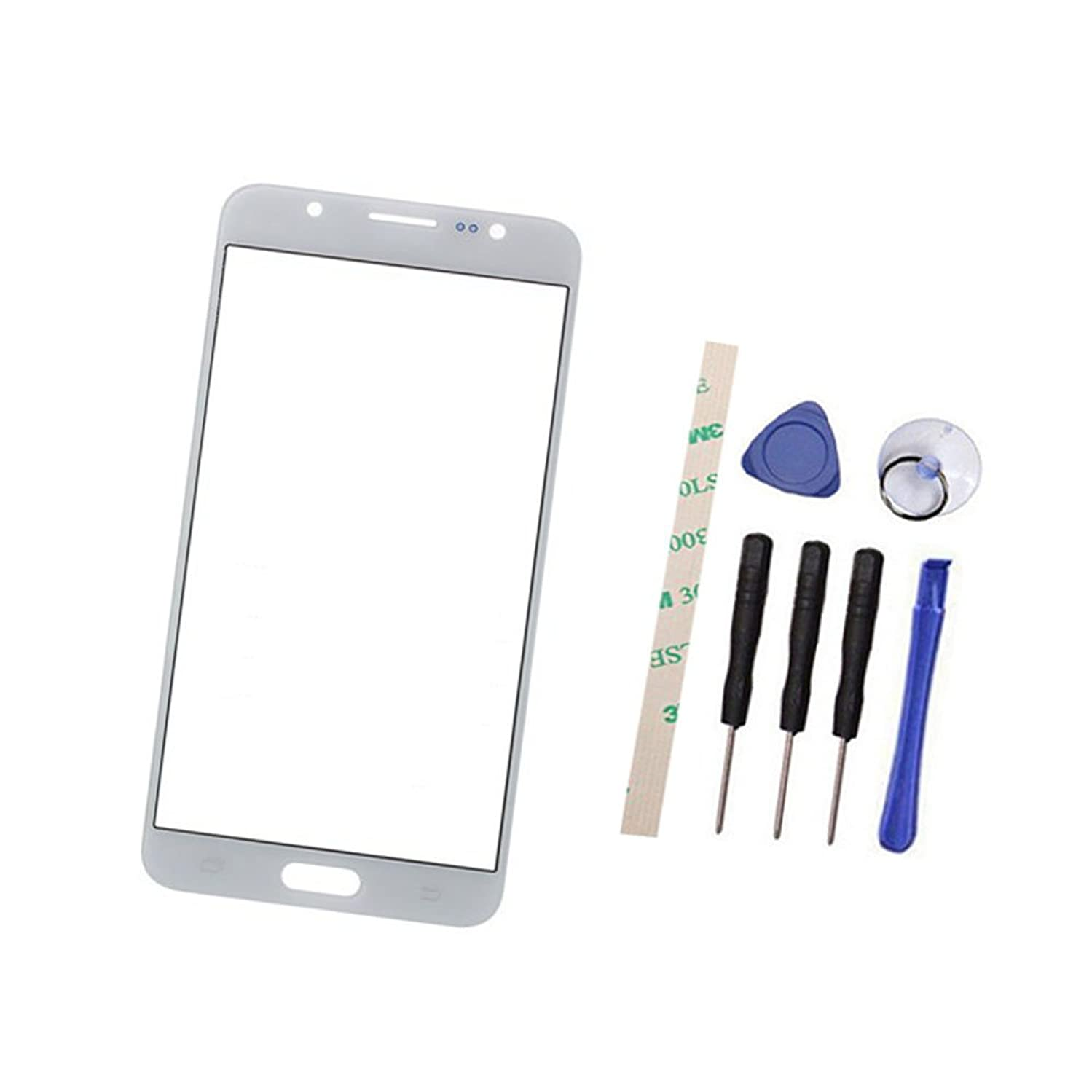 Outer Screen Front Glass Lens Replacement For GALAXY J7 2016 J710 J710F SM-J7108 (Not LCD and Not digitizer) with Adhesive Preinstalled (white)