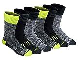 Dickies Men's Dri-tech Moisture Control Crew Socks Multipack, Hi -Vis Yellow Black (6 Pairs), Shoe Size: 6-12