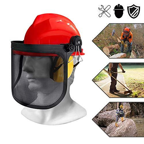 Froadp Rasenmäher Maske Schutzhelm Kombination mit Kapselgehörschützer und Klappbare Metall Maschenvisier Kopfschutz Augenschutz Helmset Forstschutzhelm für Waldarbeite NRR 24dB