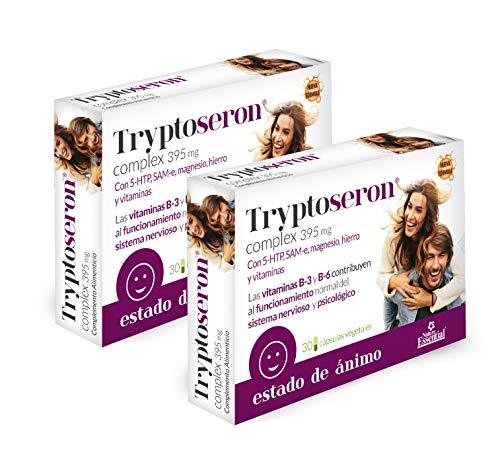 Tryptoseron 395 mg. 30 capsulas vegetales con triptófano, SAMe, magnesio, hierro y vitaminas B-3, B-5 y B-6. (Pack 3 unid.)