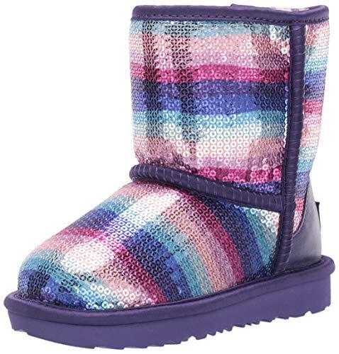 UGG Kids' Classic II Sequin Rainbow Boot, Violet Rainbow, 10 M US Toddler