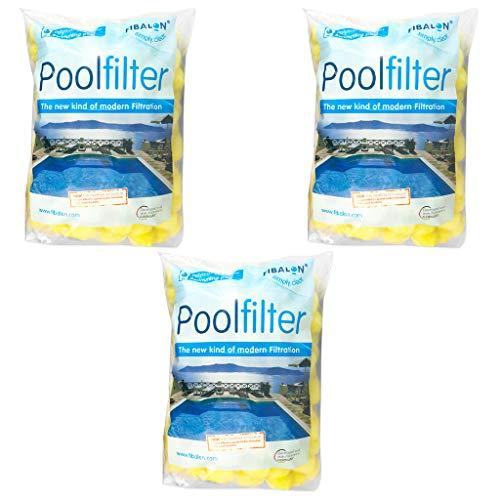 3 x FIBALON POOL - Hochwirksames Filtermaterial für Pool Sandfilteranlagen im 350g Beutel