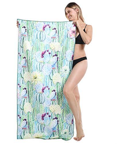 Genovega Thick Microfiber Beach Towel Cactus Tropical, Sand Resistant Free Proof Sandless, Fast Quick Dry, Travel Pool Towel, Ideal for Women Men, Mom Dad, Best Friend Boyfriend Girlfriend